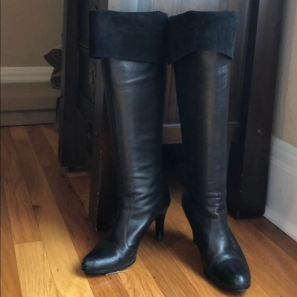 Black Knee High Leather Heel Boots